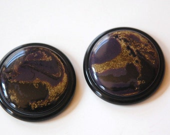 Vintage Black Purple and Gold Swirled Acrylic Cabochons 30mm cab639