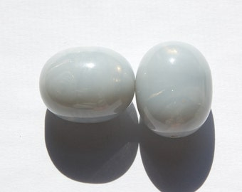 Vintage Gray Blue Opal Oval Large Focal Lucite Beads bds355