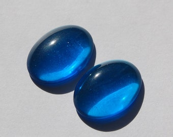 Vintage Blue Glass Cabochons 25mm x 18mm (1) cab579N