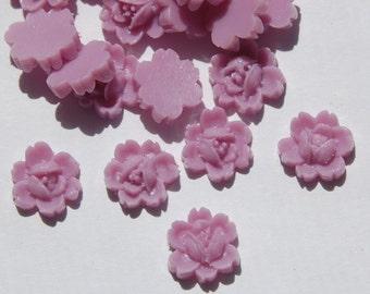 Vintage Style Purple Rose Flower Cabochon 11mm cab350B