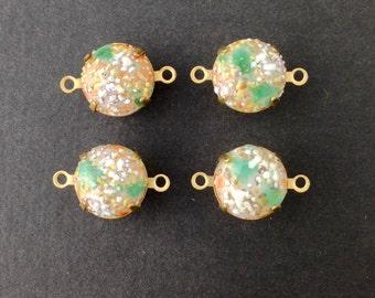 Vintage Bumpy Top Coral Beige Glass Stones 2 Loop Brass Settings 12mm (4)  rnd004KK2