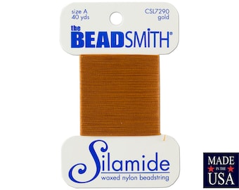 Gold Silamide Waxed Nylon Beadstring Size A (40 Yards) CSL7290
