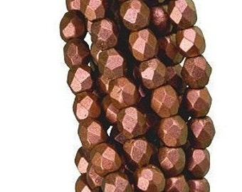 Czech Faceted Polychrome Copper Rose Firepolish Glass Beads 6mm (25)