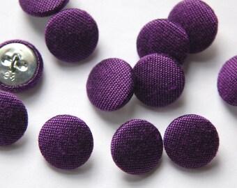 Vintage Purple Silk Buttons 15mm btn002K