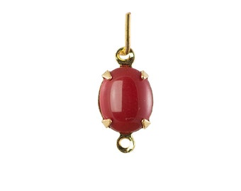Vintage Opaque Red Oval Stones in 2 Loop Gold Setting 10x8mm (4) ovl018F2