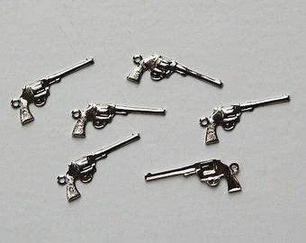 Silver Plated Brass Pistol Gun Charms (6) chr067A