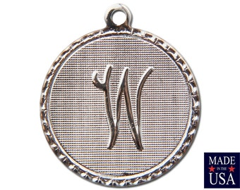Silver Plated Letter W Initial Charm Drop with Loop (4) chr220W