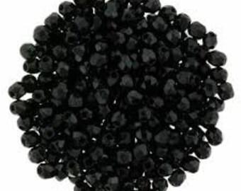 Czech Faceted Jet Firepolish Glass Beads 3mm (50)