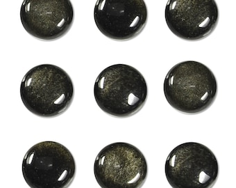 Dakota Stones Golden Obsidian 10mm Round Coin Cabochon Gemstone CAB-GOB10DC