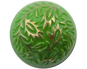 Vintage Green Etched Domed Cabochons Germany 15mm (2) cab047A