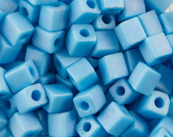Opaque Light Blue Frosted Miyuki Cube Seed Bead 4mm 20gm Tube SB4-413FR-TB