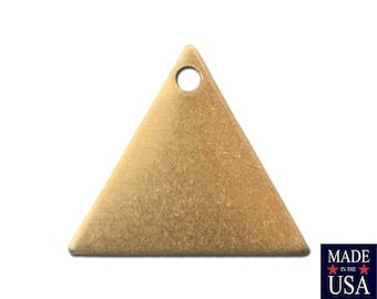 1 Hole Raw Brass Triangle Charms Drops 13mm (10) mtl147