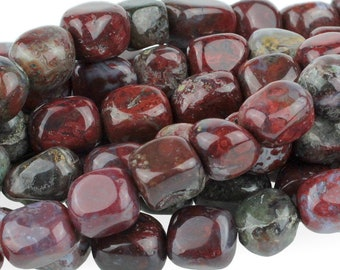 "Dakota Stones Red Lightning Agate 8X10 Nugget Gemstones. 8"" Strand. RLA8X10NUG-8"