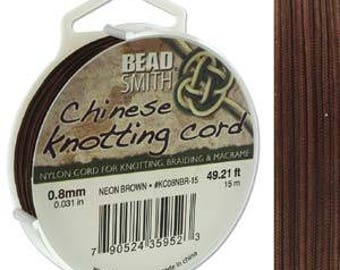 Neon Brown Chinese Knotting Cord (.8mm/.031in) 15m/16.4yds