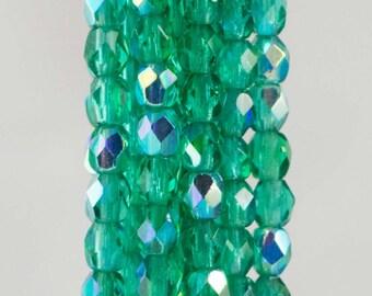 Firepolish Czech Faceted AB Emerald Glass Beads 3mm (50)