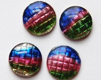 Vintage Green Pink Blue Stripe Glass Cabocohns 13mm cab029