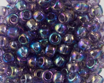 "Transparent Rainbow Sugar Plum Toho Seed Bead 8/0 2.5"" Tube TR-08-166D/C"