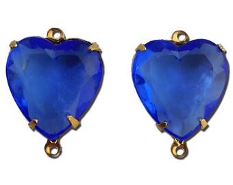 Sapphire Glass Heart Pendants in 2 Loop Gold Plated Setting 15mm hrt003B2