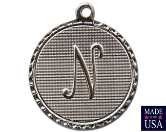 Silver Plated Letter N Initial Charm Drop with Loop (4) chr220N