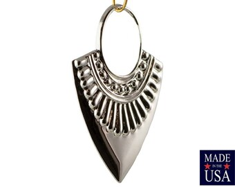 Silver Plated Open Loop Teardrop Hoop Tribal Pendant (4) mtl403T