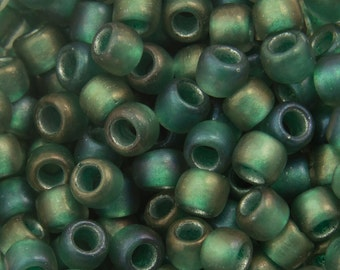"Inside Color Frosted Crystal/ Prairie Green Lined Toho Seed Bead (8g) 8/0 2.5"" Tube TR-08-270F/C"