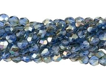 Czech Faceted Twilight Sapphire Firepolish Glass Beads 4mm (50) 1-04-W3