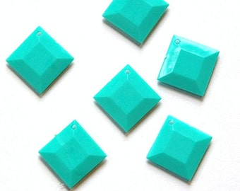 Vintage Turquoise Acrylic Faceted Square Charms Drops bds201A