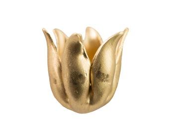 Raw Brass 6 Wavy Petal Flower Bead Cap (8) mtl073