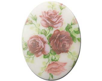 Vintage German Pink Roses Glass Flowers Cabochon 40x30mm (1) cab747H