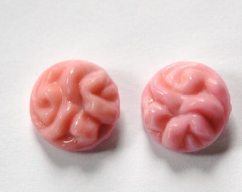 Vintage Pink Textured Top Glass 15mm Cabochons cab384B