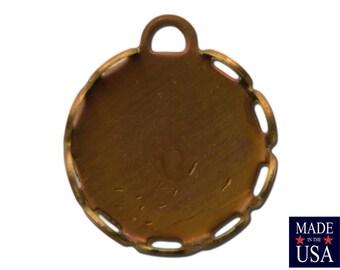 1 Loop Raw Brass Lace Edge Filigree Setting 11mm Round (12) stn205A