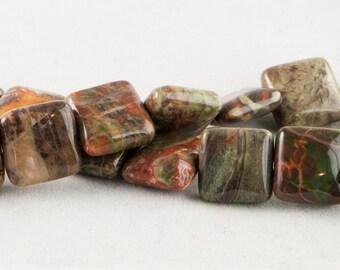"""Dakota Stones Peacock Jasper 12mm Square Gemstones. 8"""" Strand. PEA12SQU-8"""