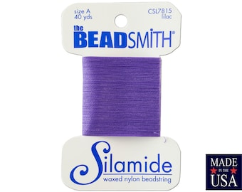 Lilac Silamide Waxed Nylon Beadstring Size A (40 Yards) CSL7815