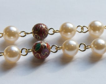 Vintage Red Cloisonne and Pearl Beaded Chain 8mm chn071C