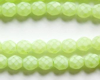 Czech Faceted Matte Light Olive Coated Glass Beads 8mm (25) czh002E