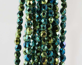 Firepolish Czech Faceted Iris Green Glass Beads 3mm (50)