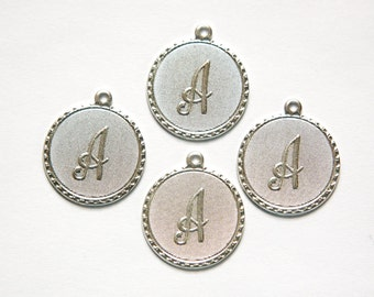 Matte Silver Plated Letter A Initial Charm Drop with Loop (4) chr196A