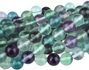 "Dakota Stones Banded Fluorite 8mm Round Gemstones. 8"" Strand. FLU8RD-8"