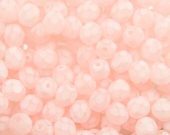 Czech Faceted Matte Light Rose Coated Glass Beads 6mm (30) czh013J