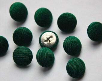 Vintage Emerald Green Silk Buttons 15mm btn002M