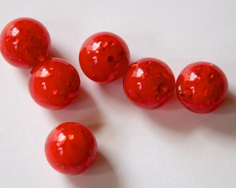 Vintage Lucite Red Orange Beads with MOP Glitter Inclusions 12mm (6) bds832G