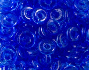 Sapphire Czech O Bead 3.8x1mm 8.1gm Tube OB2430050-TB