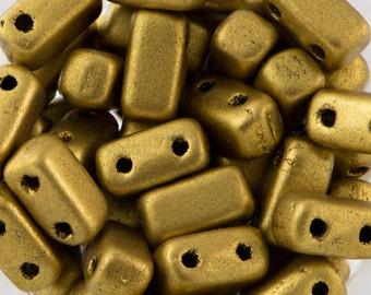 Matte Metallic Aztec Gold Czech Mate Brick Beads 3/6mm (50) 365-36-K0172