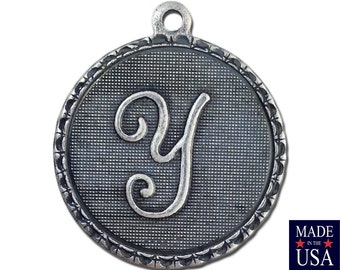 Sterling Silver Ox Plated Letter Y Initial Charm Drop with Loop (1) chr214Y
