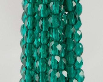 Firepolish Czech Faceted Viridian Glass Beads 3mm (50)