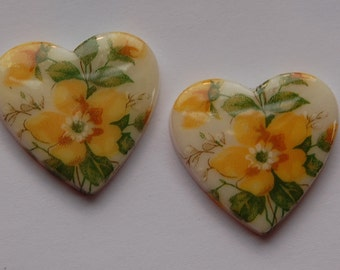 Vintage Yellow Floral Glass Heart Cabochons Japan cab609A