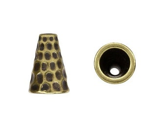 TierraCast Hammertone Tall Brass Ox Plated Cone Bead Caps Cord Ends Kumihimo TC94-5736-27