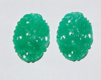 Vintage Jade Green Pierced Floral Glass Cabochons 30mm x 22mm cab388A