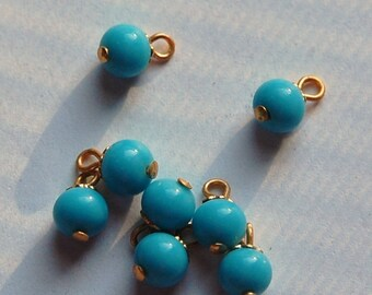 Vintage Turquoise Blue Glass Drops Bead Cap Loop drp022