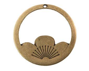 OOPS*** Large Brass Ox Lotus Flower Hoops Charms 33mm (4) mtl036EOOPS